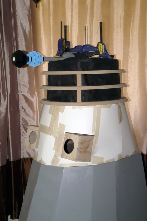 How to build a Dalek - the neck rings came out well hand cut using a straight ruler, a pencil and a jigsaw