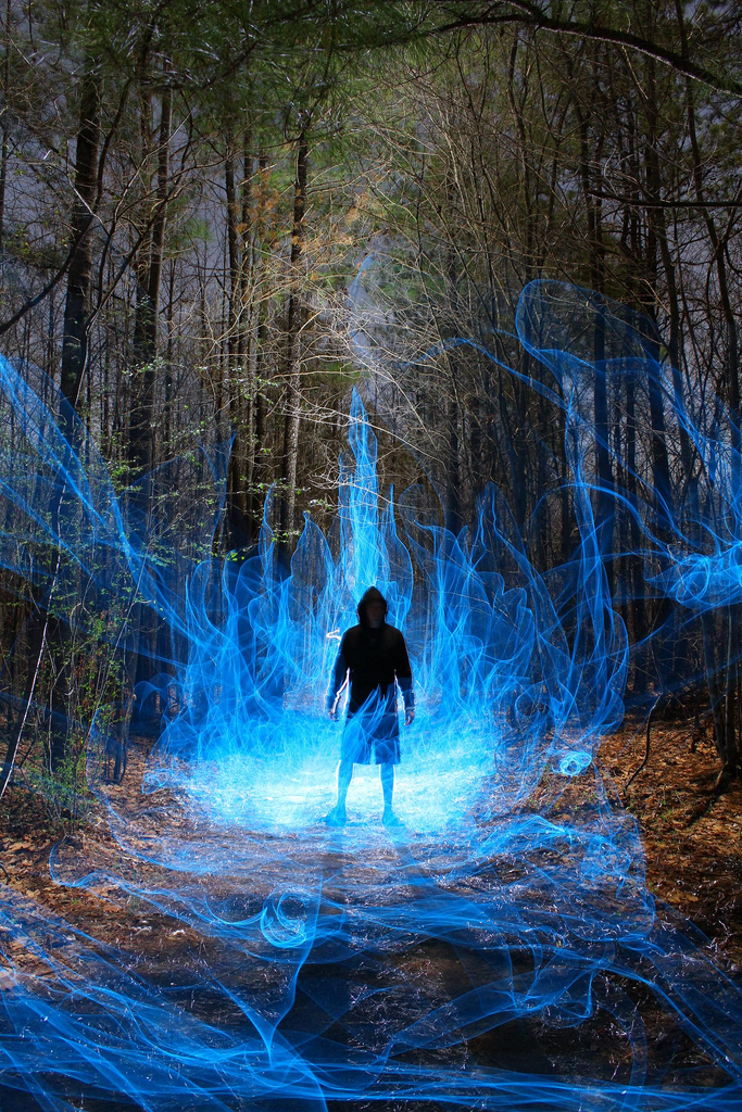 Photography ¦ light painting by Dennis Calvert conjures up images of Occult or Cthulhu Mythos sorcerers and Road Mages in Yellow Dawn