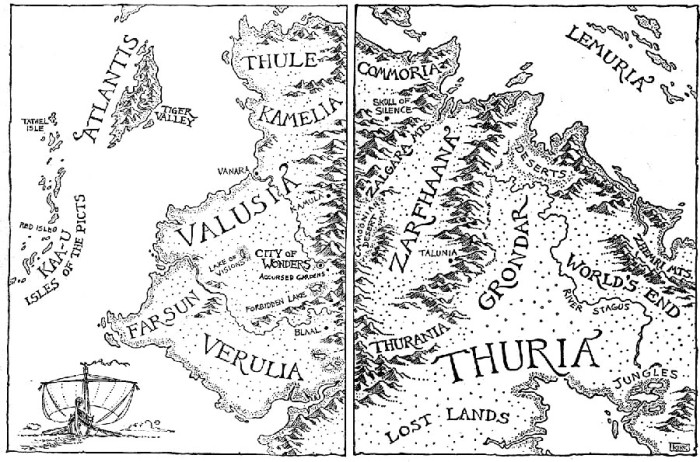 Cthulhu Mythos - Serpent People - a mythical map - alluding to a land called Valusia
