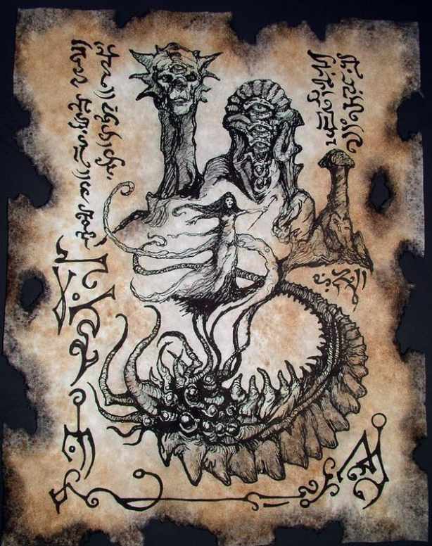Dark Art ¦ Cthulhu Mythos - authentic pages from occult book arcane knowledge crafted by artist Zarono