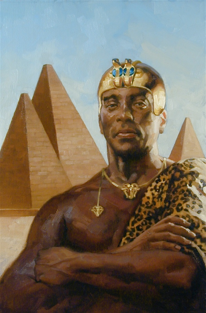 Black Pharaohs cover - a portrait of Piye - image by Gregory Manchess - All Rights Reserved - Used to illustrate the concept of Nyarlathotep as Nephren Ka