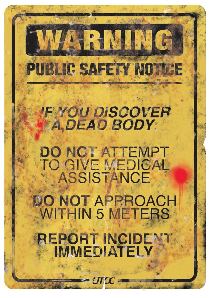 Art Wallpaper Sci-Fi Cyberpunk Zombie Infection Public Safety Warning Sign from Yellow Dawn - an RPG by British Cyberpunk Horror author David J Rodger