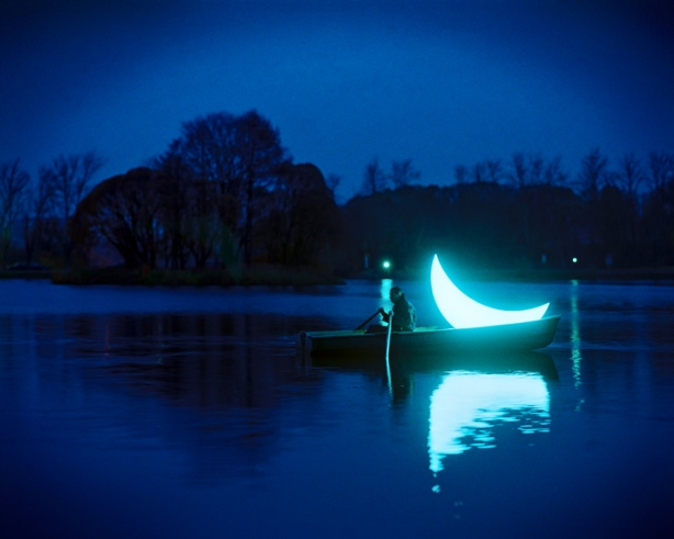 Private Moon by Boris Bendikov and Leonid Tishkov Rowing Boat At Night
