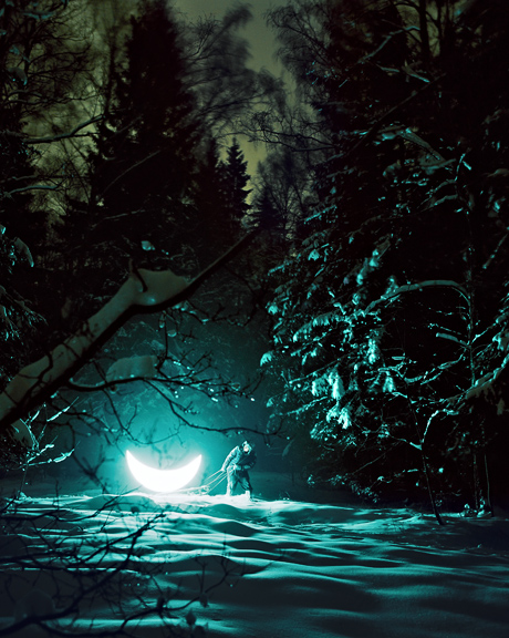 Private Moon by Boris Bendikov and Leonid Tishkov Snow Covered Forest At Night