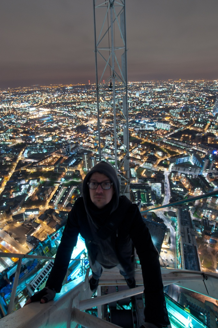 Climbing a Shard of Glass - photo posted on Bradley L. Garrett website place hacker co uk