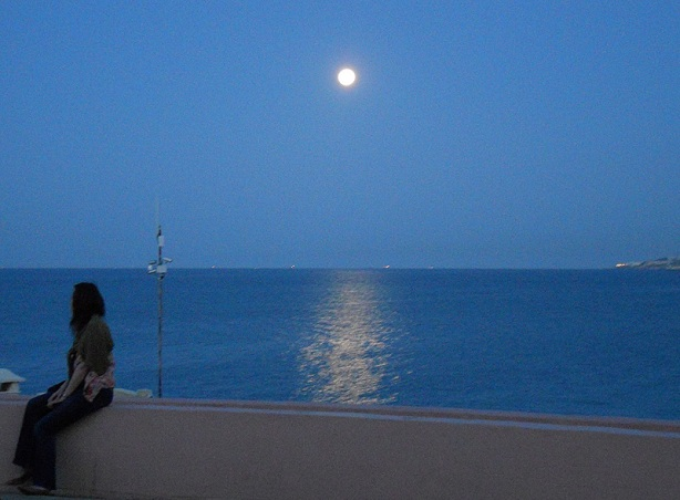 A full moon over mediterranean sea - Malta