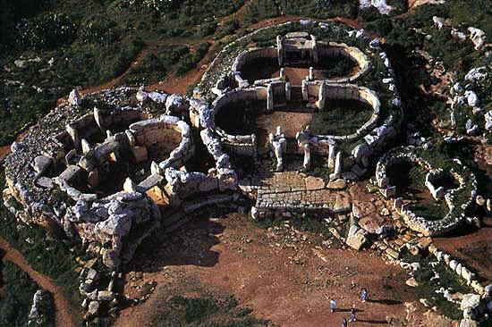 Malta Gozo - Aerial view of Ggantija Temples