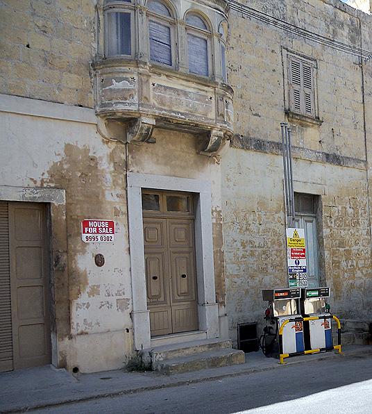 Malta Gozo - Victoria Rabat Citadel - petrol gas station crammed into medieval street
