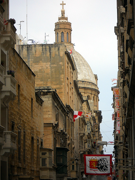 Malta Valletta a glimpse of the dome of St Pauls church