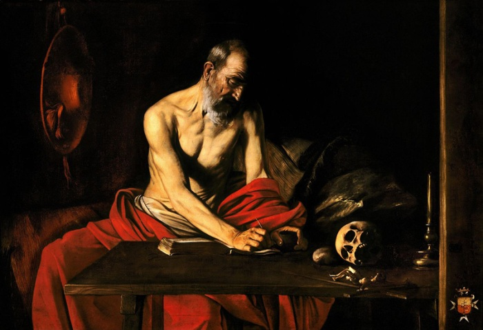 Saint Jerome Writing by Caravaggio circa 1607 - housed in St. John's Co-Cathedral  Valletta