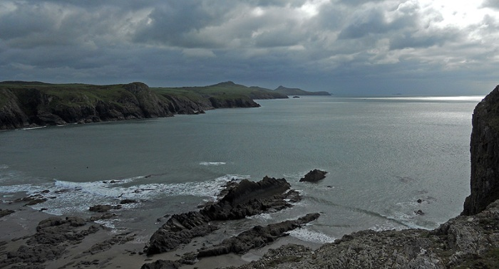 A view of Pembrokeshire Coast from cliffs above Porthgain