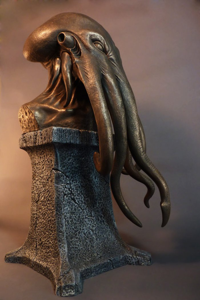 dark art - sculpture - the key of cthulhu by lee joyner  cold cast (faux) bronze urethane rotocasting
