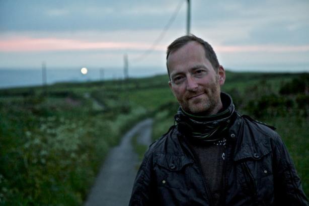 David J Rodger at Strumble Head lighthouse Pembrokeshire Wales photo by Hagen Landsem