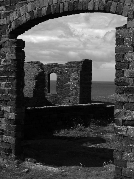 Victorian ruins on cliffs above Porthgain pembrokeshire Wales