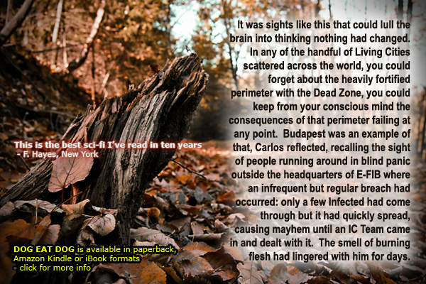 British sci-fi author David J Rodger - Dog Eat Dog - cyberpunk crime thriller set in post-apocalyptic world of Yellow Dawn