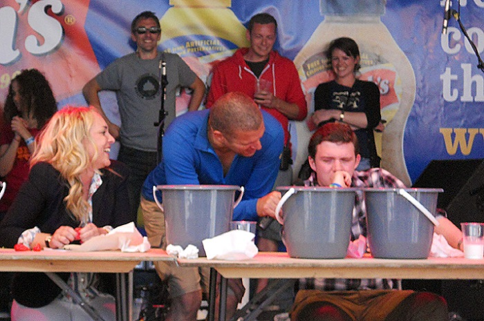 Grill Fest - July 2012 - Bristol UK - BBQ pork ribs and chilli eating contest - hero questions the sanity to continue