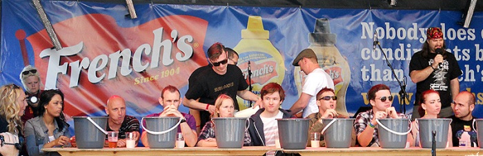 Grill Fest - July 2012 - Bristol UK - BBQ pork ribs and chilli eating contest - the contestants line up