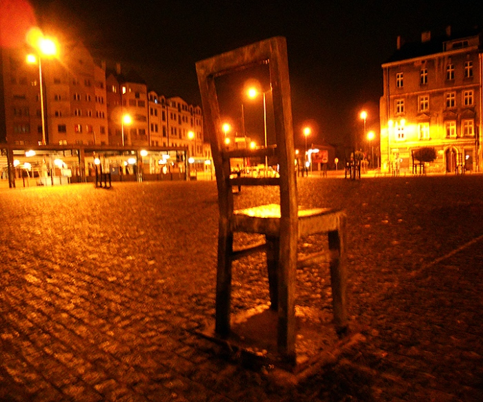 Chair sculpture in Podgorze commemorating the murdered inhabitants of the Ghetto