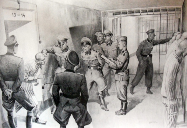 Auschwitz Poland black and white artwork depicting Nazi brutality against Christian and Jewish prisoners