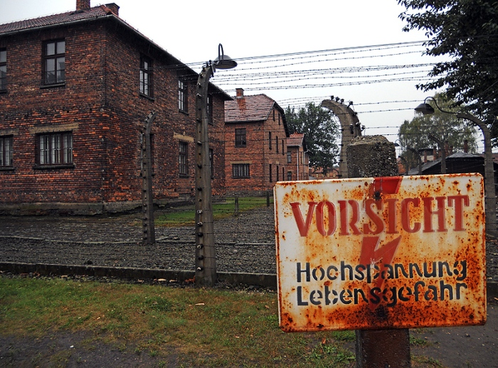 Auschwitz Poland electric fence sign