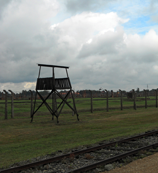 Birkenau Poland guard tower overlooking train track