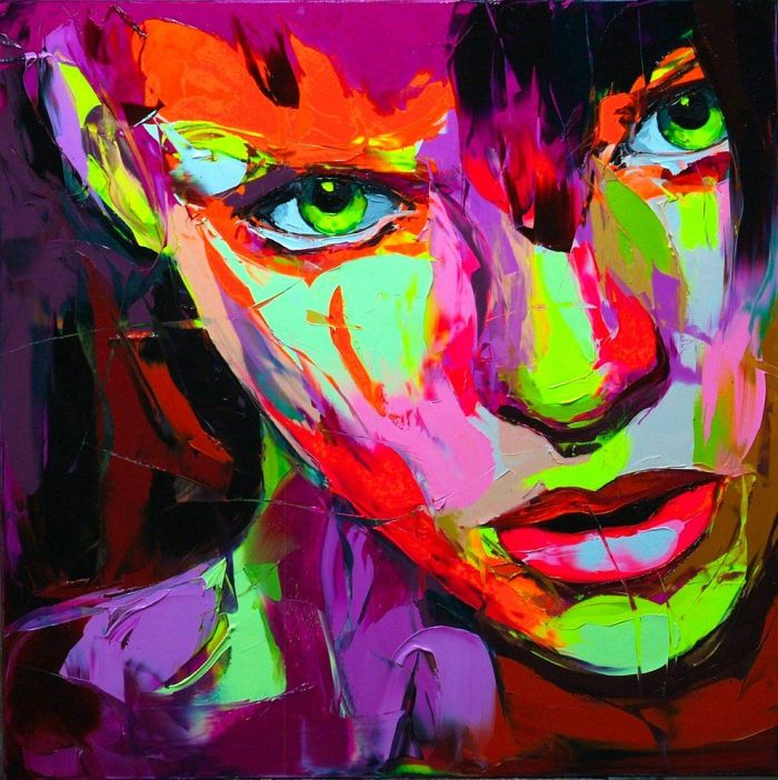 Art Dramatic polychrome colour potraits by Françoise Nielly bleed across cyberpunk and 1980s