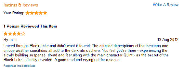 Customer Review of The Black Lake - a ghost story within the Cthulhu Mythos by British Sci-Fi & Dark Fantasy Author David J Rodger