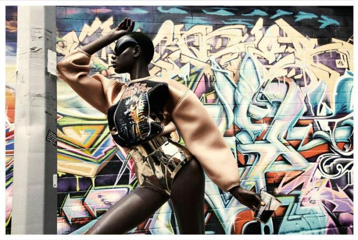 Cyberpunk fashion  photograph by Julia Noni - model Ajak Deng - wearable technology by Barbara Loison