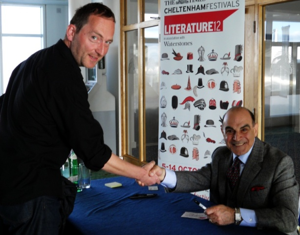 Actor David Suchet - Agatha Christies Hercule Poirot shakes hands with British Sci-fi Dark Fantasy author David J Rodger at Cheltenham Lit Fest 2012