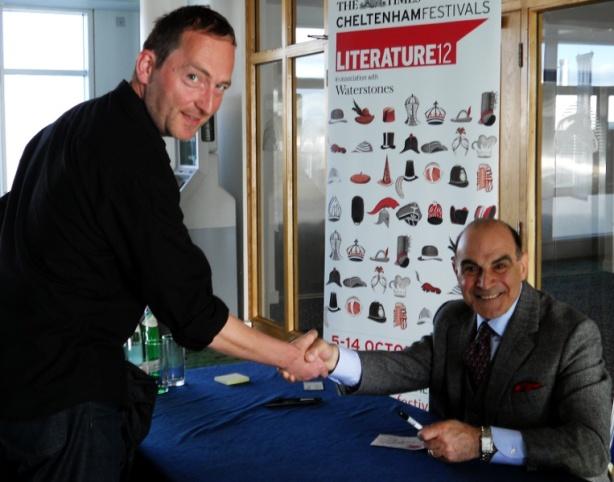 Actor David Suchet - Agatha Christies Hercule Poirot shakes hands with British Sci-fi Dark Fantasy author David J Rodger at Cheltenham Lit Fest 2012