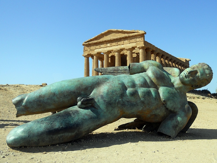 Photo Temple of Concordia with fallen Icarus statue - Valley of Temples Sicily by David J Rodger