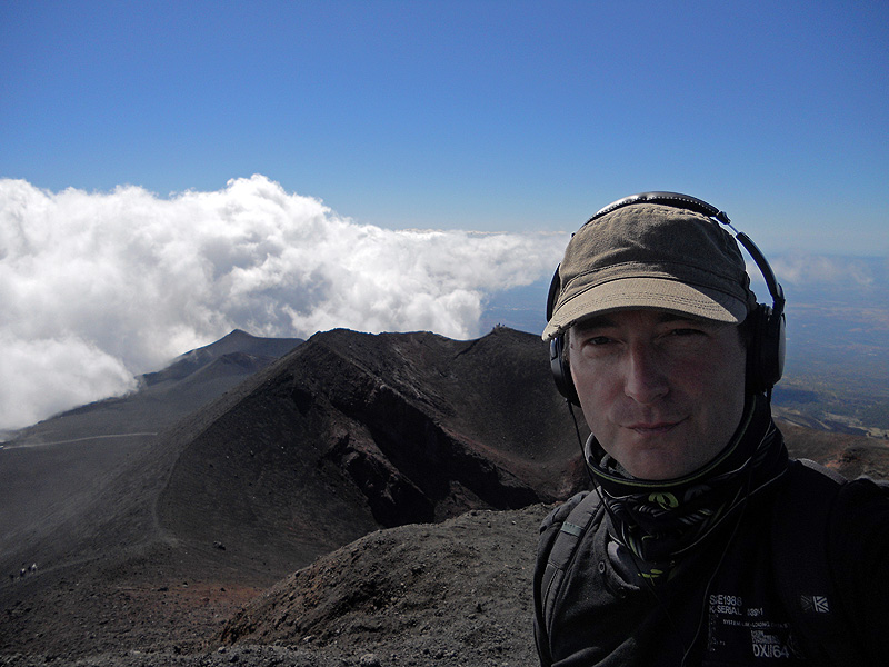 David J Rodger on summit of Mount Etna in Sicily