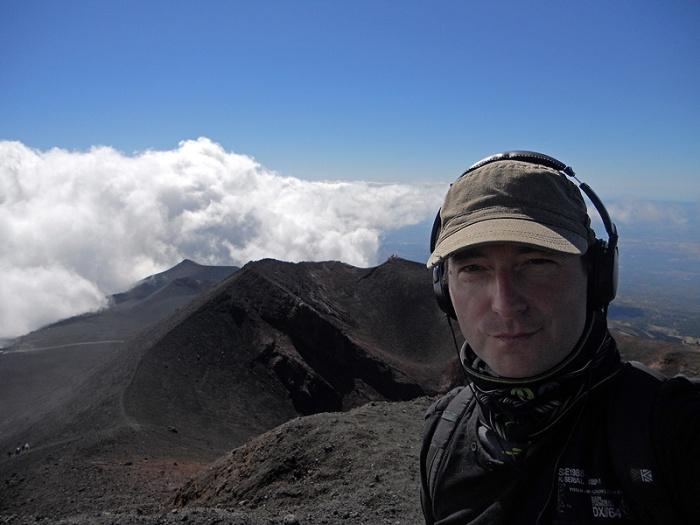 Travel photo - British Sci-fi Dark Fantasy Cyberpunk Horror author David J Rodger stands on Mount Etna Sicily