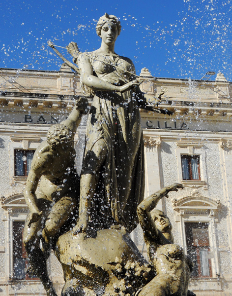 Travel photo fountain in Syracuse Sicily by David J Rodger
