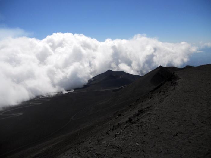 Travel photo Sicily clouds sliding over the shoulder of Mount Etna by David J Rodger