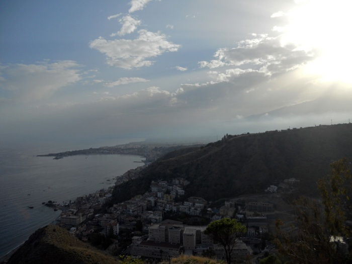 Travel photo sicily  first glimpse of Mount Etna and Giardini Naxos looking down from Taormina - by David J Rodger