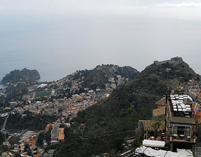 Travel photo - Sicily - looking down on Taormina from Castlemola by David J Rodger