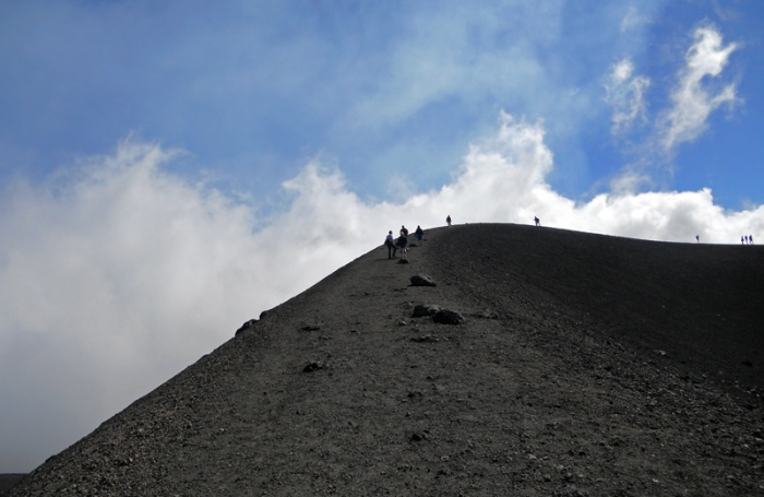 Travel photo Sicily - mount Etna - ridge leading up to volcanic crater Torre del Filosofo by David J Rodger