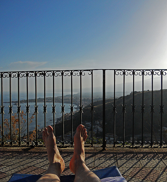 Travel photo Sicily - Taormina - view of Giardini Naxos  from swimming pool of Excelsior Palace hotel by David J Rodger