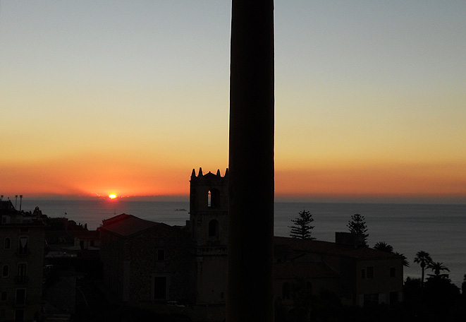 travel photo Sicily Taormina watching the sunrise from hotel room Excelsior Palace 2