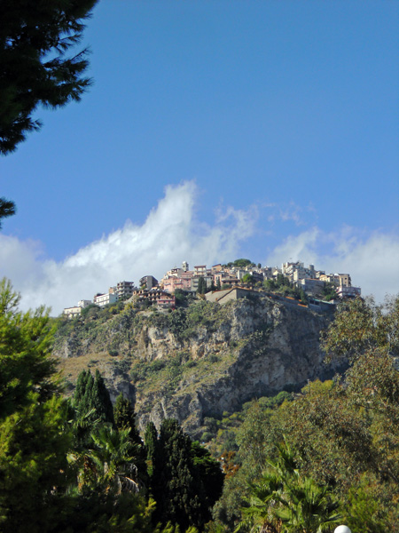 Travel photo Sicily view of Castlemola from Taormina by David J Rodger