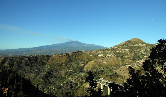 Travel Photo Sicily view of mount Etna from Taormina