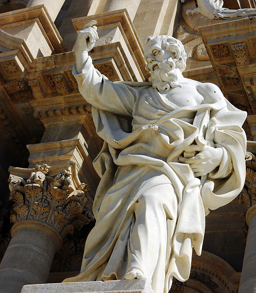 Travel photo Statue of Saint Paul outside Syracuse Cathedral, Piazza Duomo, Ortygia, Syracuse, Sicily, Italy by David J Rodger