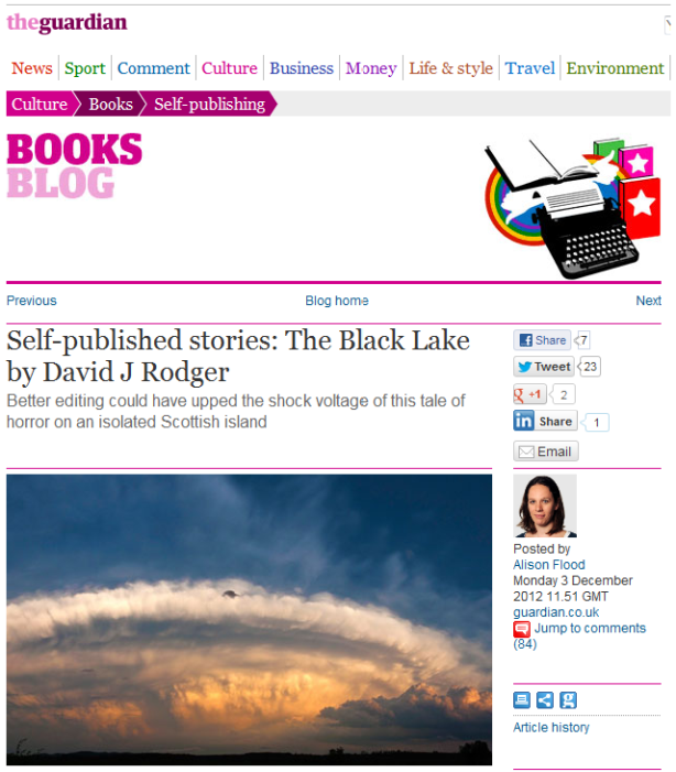 The Guardian news website reveiws The Black Lake by David J Rodger - fun atmospheric and creepy but better editing could have helped