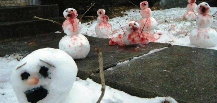 zombie Christmas undead blood covered snowmen