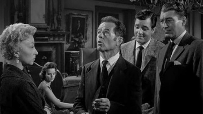 Black and White Horror Classic House on Haunted Hill 1959 -Richard Long as Lance Schroeder, Alan Marshal as Dr. David Trent, Carolyn Craig as Nora Manning and Elisha Cook Jr as Watson Pritchard