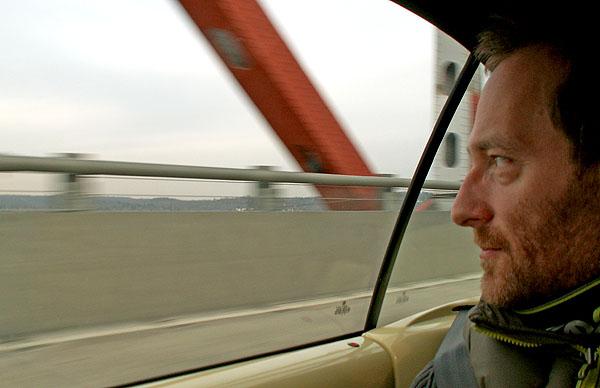 British Sci-Fi Dark Fantasy author crossing Tappan Zee Bridge in New York - a location used in his Sci-Fi Dark Fantasy novel Dog Eat Dog