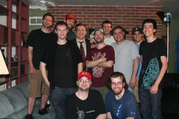 photo of cast and crew on set of the H P Lovecraft Cthulhu Mythos short film Beyond the Basement Door including Daniel Roebuck