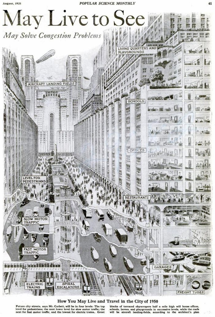 August 1925 - popular science monthly magazine - how you may live and travel in the city of 1950