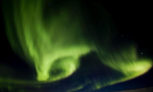 aurora borealis or meteorological phenomenon known as a storm curtain in Yellow Dawn